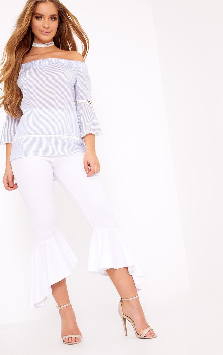 Althea Blue Stripe Bardot Crochet Detail Shirt 3