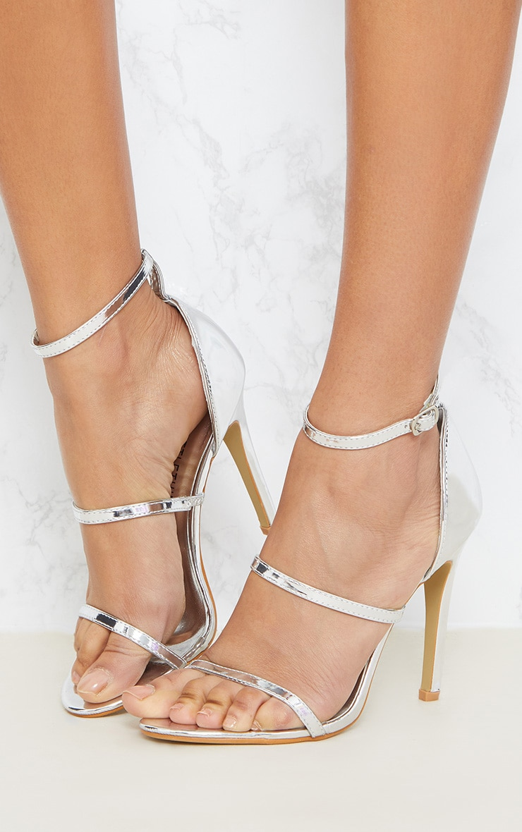 Leyah Silver Multi Strap Heeled Sandals 2