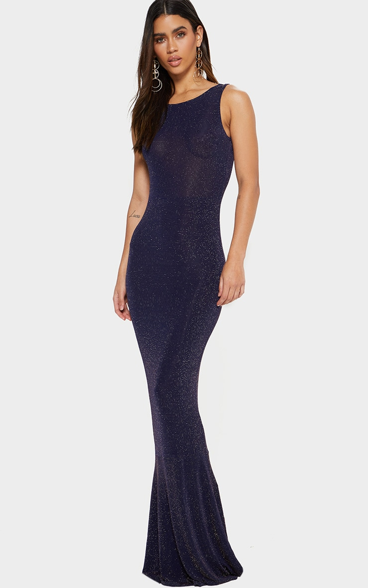 Navy Backless Glitter Fishtail Maxi Dress 2