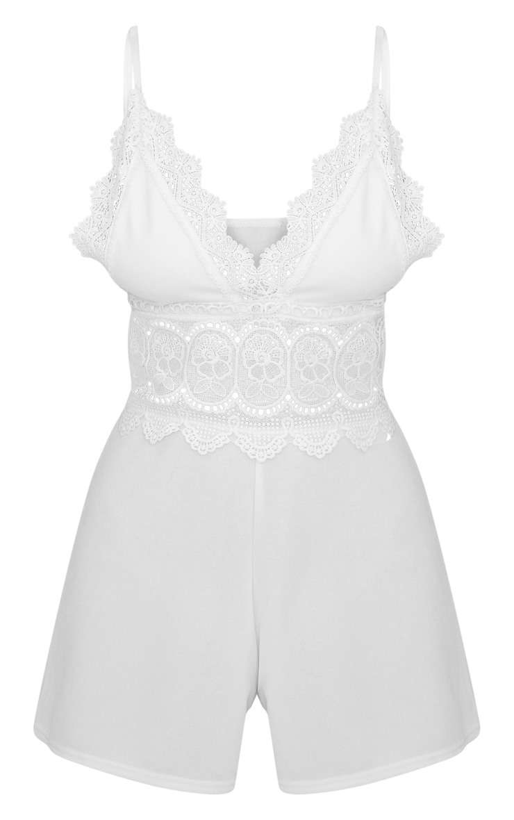 White Strappy Crochet Trim Playsuit 3