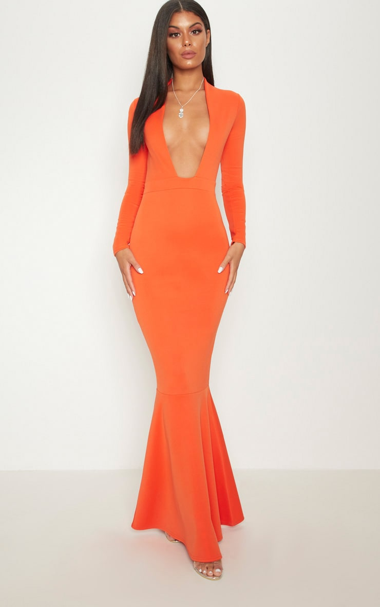 Bright Orange High Collar Detail Plunge Fishtail Maxi Dress 1