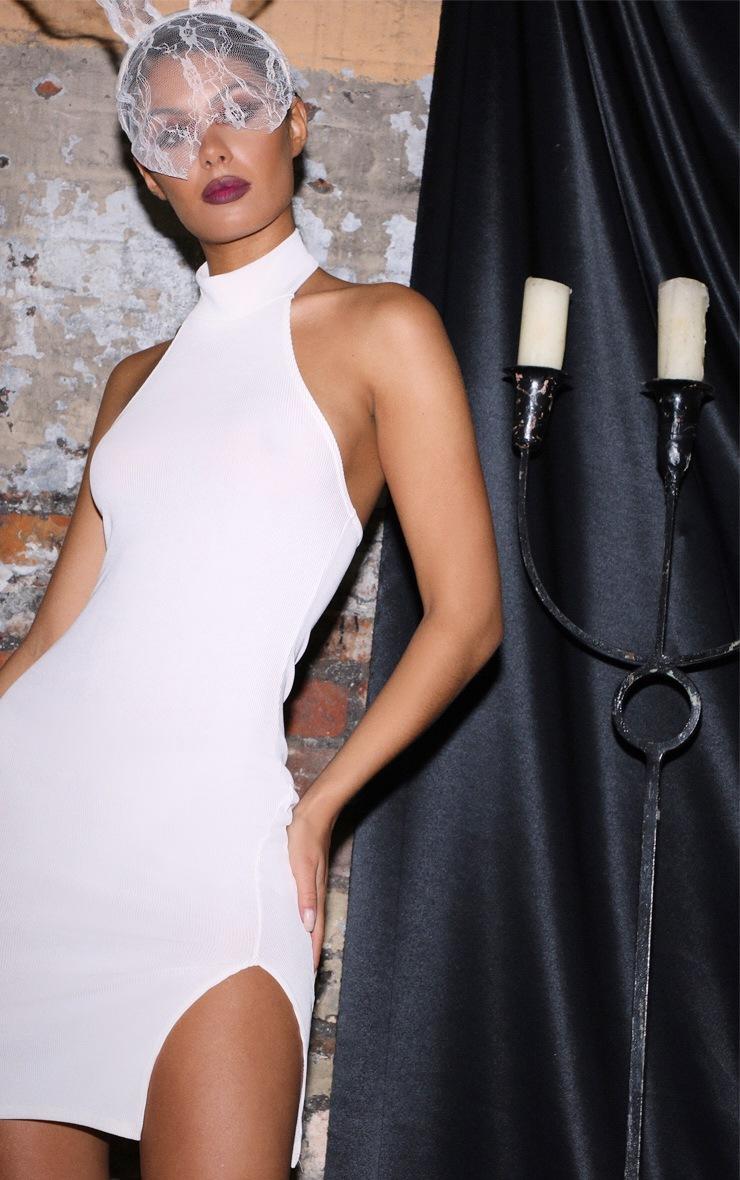 White Ribbed  Split Detail High Neck  Bodycon Dress  5
