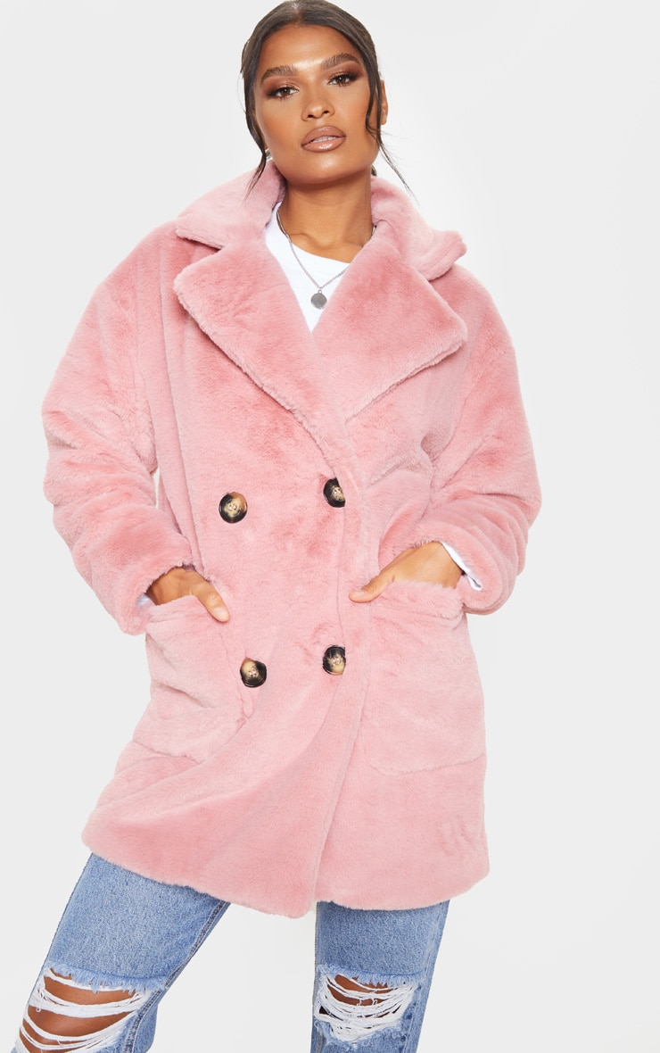 Rose Faux Fur Double Breasted Button Detail Coat 4