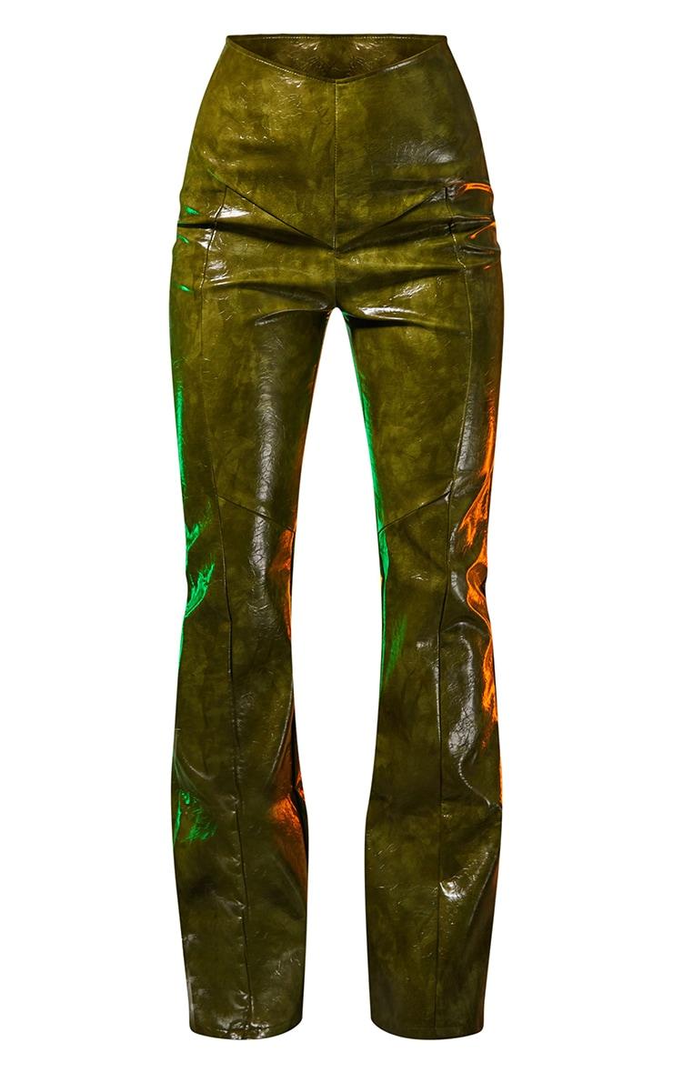 Green Vinyl Panelled Straight Leg Trousers 5