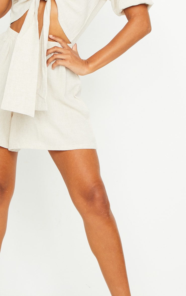 Stone Linen Feel High Waisted Shorts 4