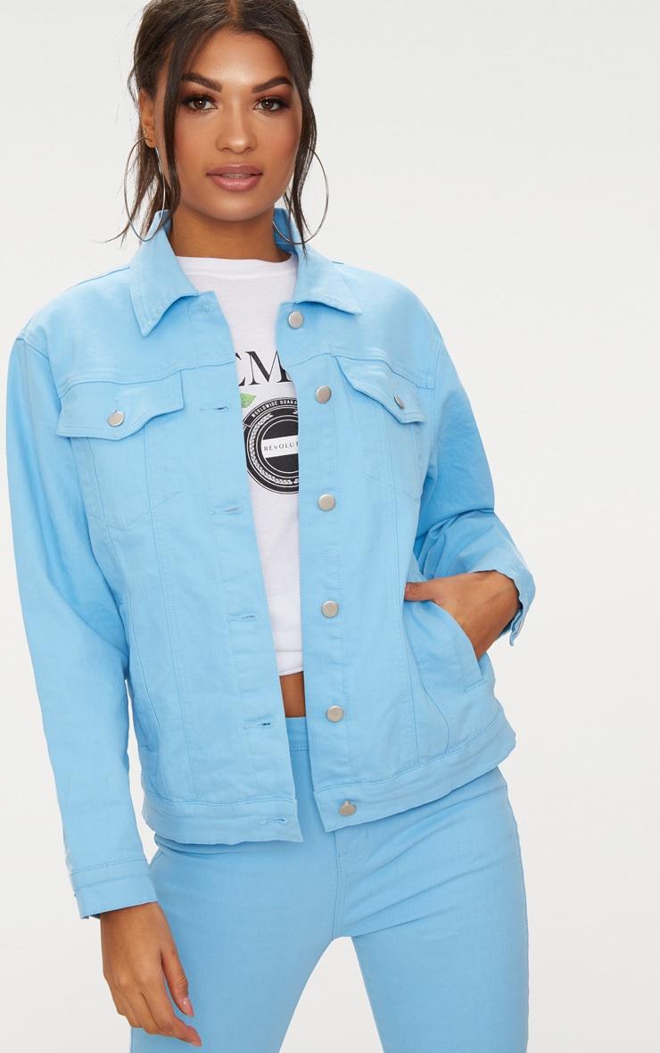 Baby BlueBoyfriend Fit Denim Jacket 1