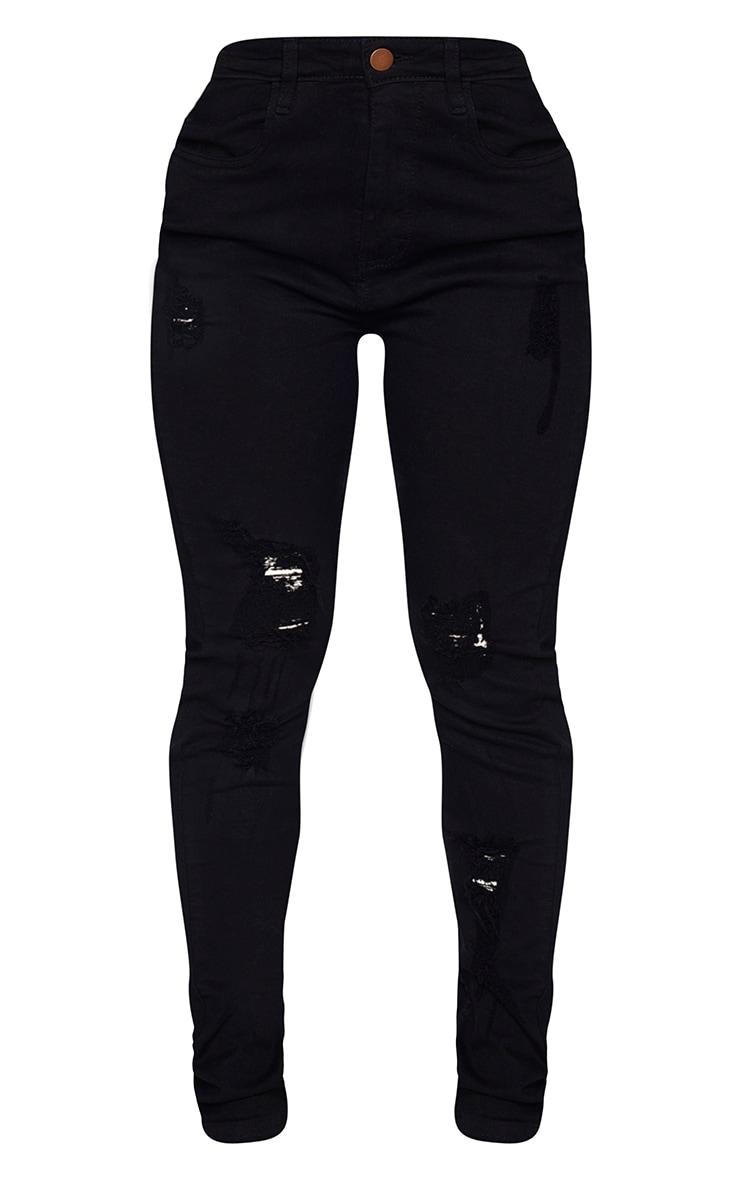 Shape Black Distressed Detail Skinny Jeans 5