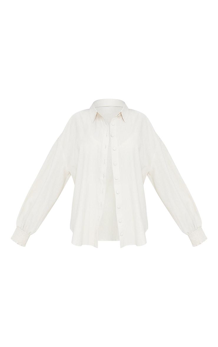 Petite Stone Oversized Shirred Cuff Linen Feel Shirt 5
