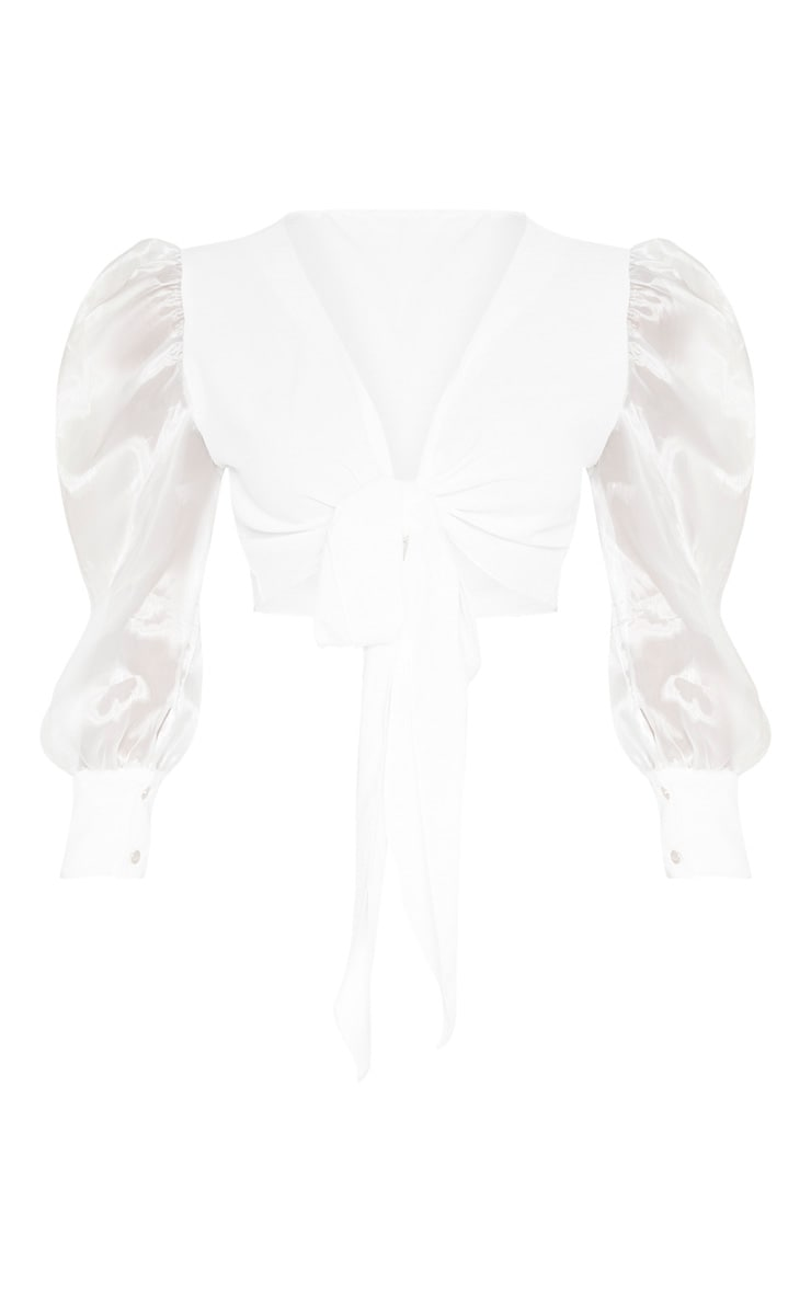 White Sheer Puff Sleeve Tie Front Shirt 3