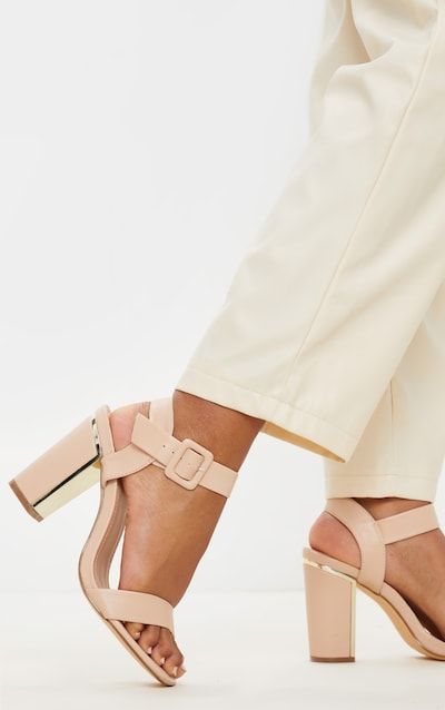 Nude Wide Fit Metal Heel Detail Block Heel Sandal
