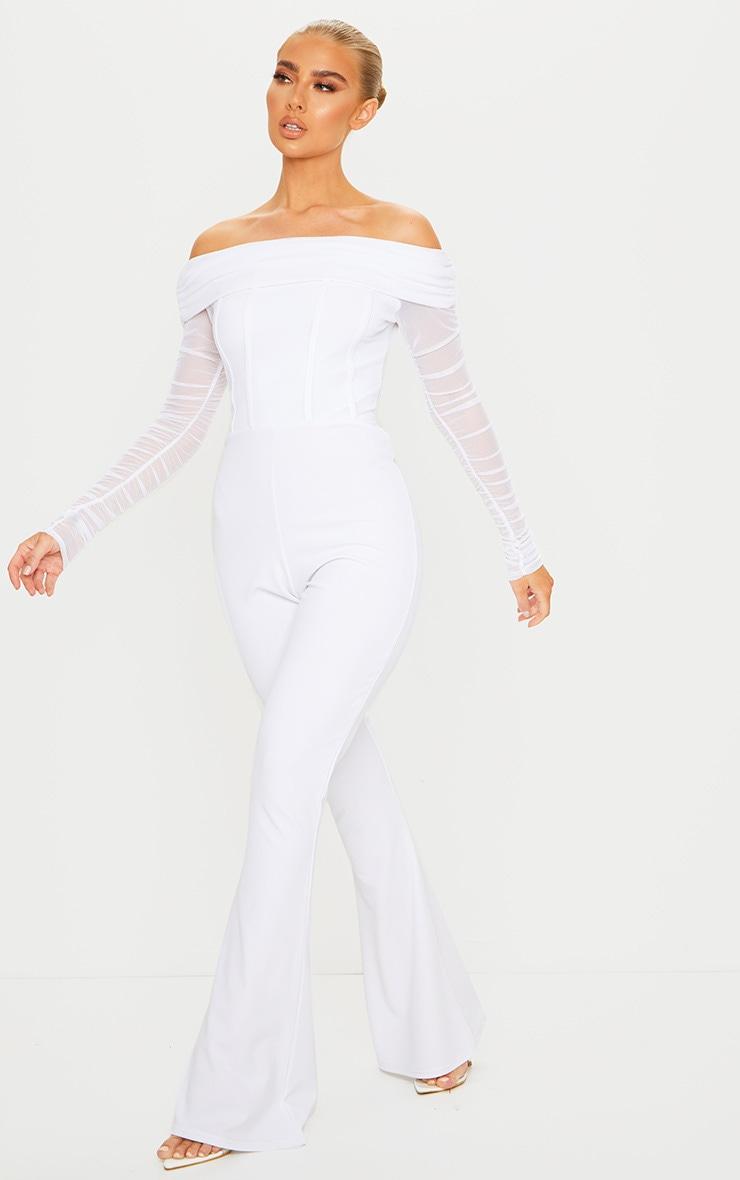 White Bardot Mesh Sleeve Flare Leg Jumpsuit 3
