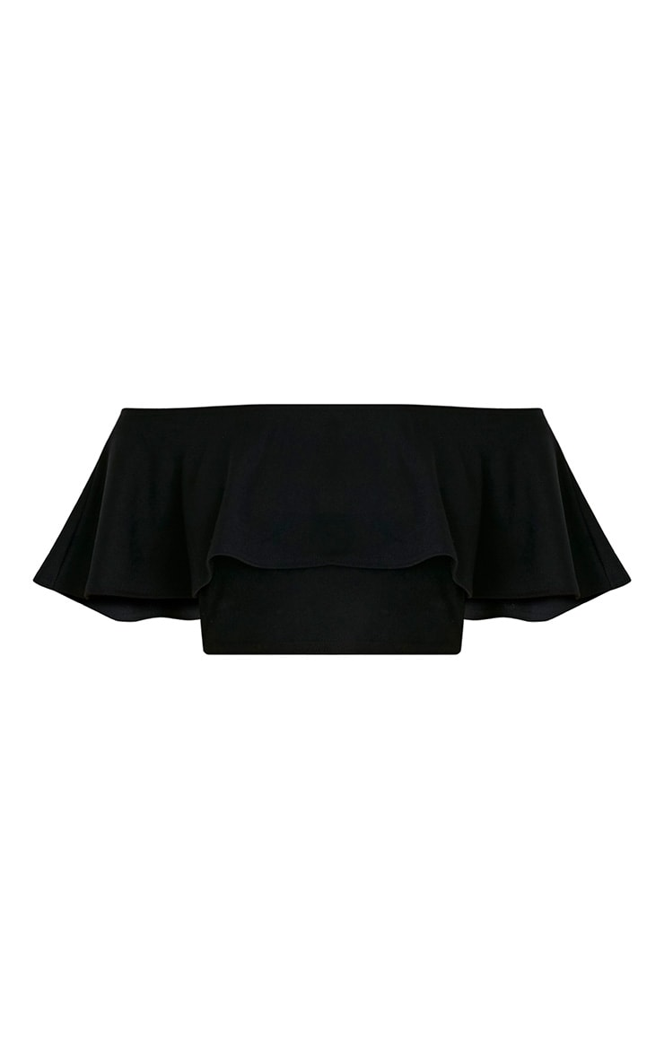 Chanelle Black Bardot Frill Crop Top  3