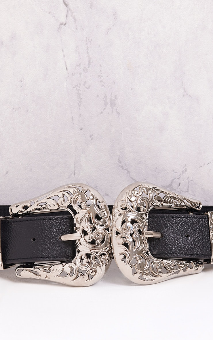 Hermione Silver Ornate Double Buckle Waist Belt 6