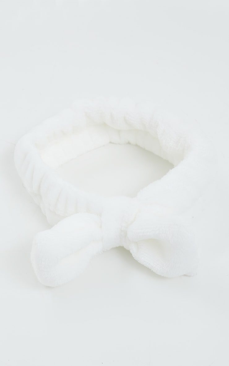 Fluffy Bow Makeup Headband White 3