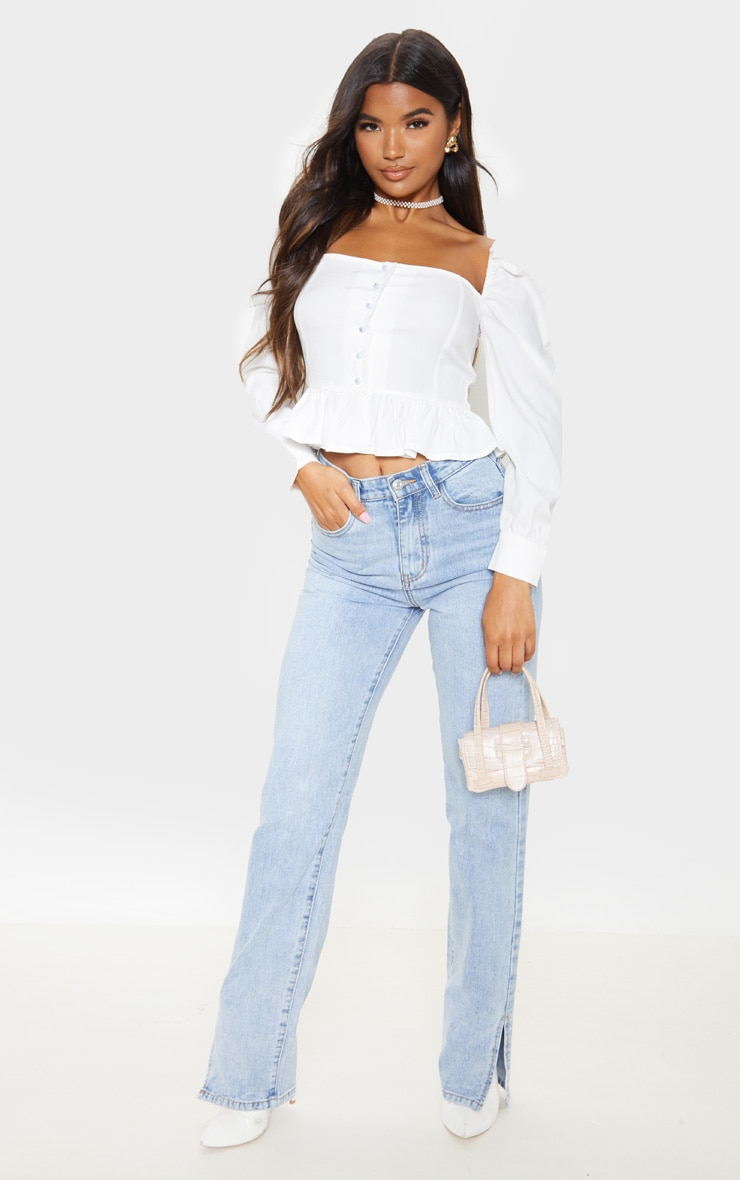 White Cropped Frill Hem Square Neck Puff Sleeve Blouse 4