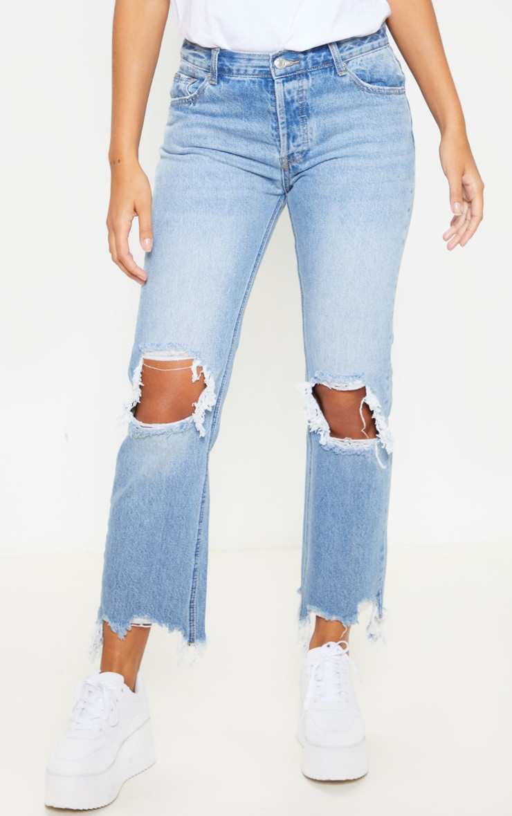 Mid Wash Low Rise Distressed Knee Rip Jeans 2