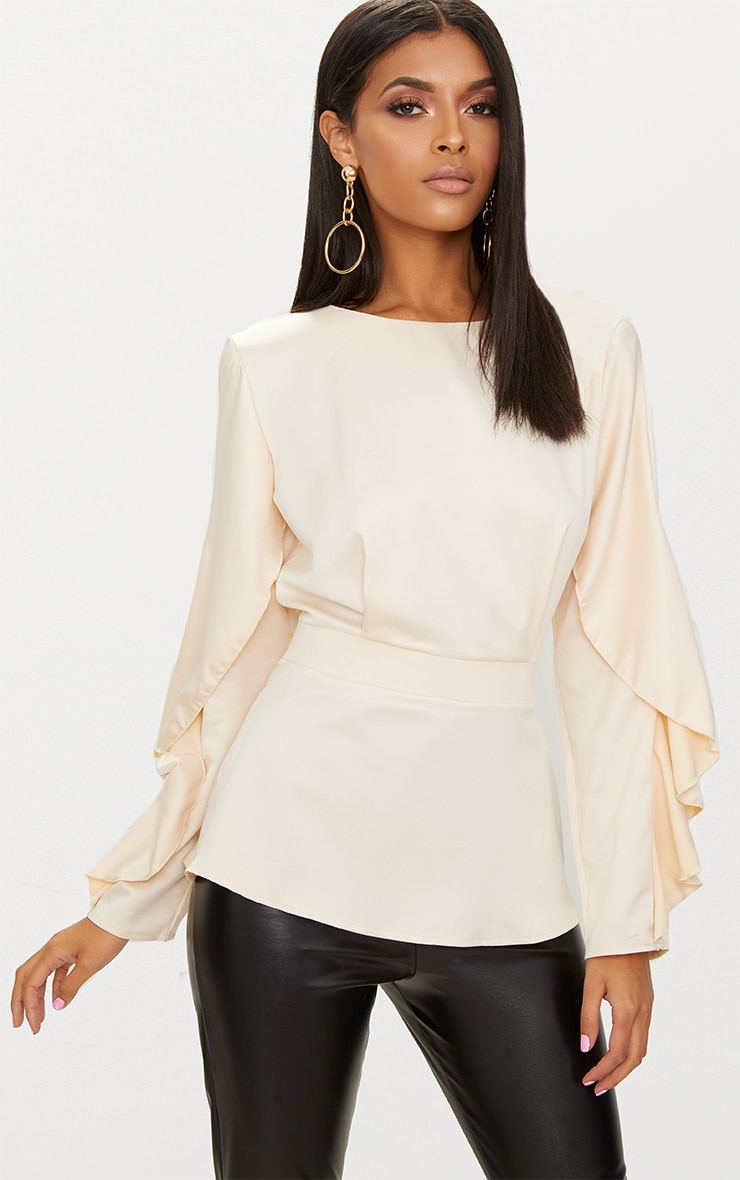 Nude Satin Frill Sleeve Fitted Blouse  1