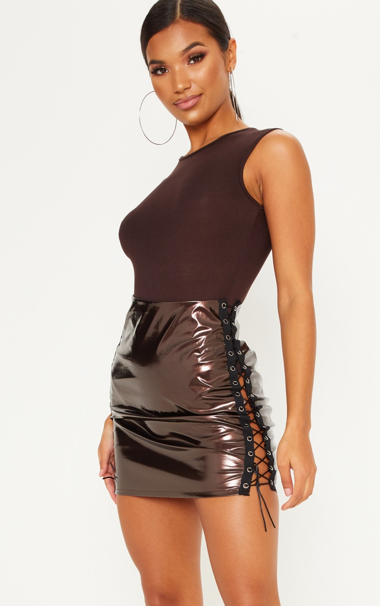 Chocolate Vinyl Double Lace Up Mini Skirt