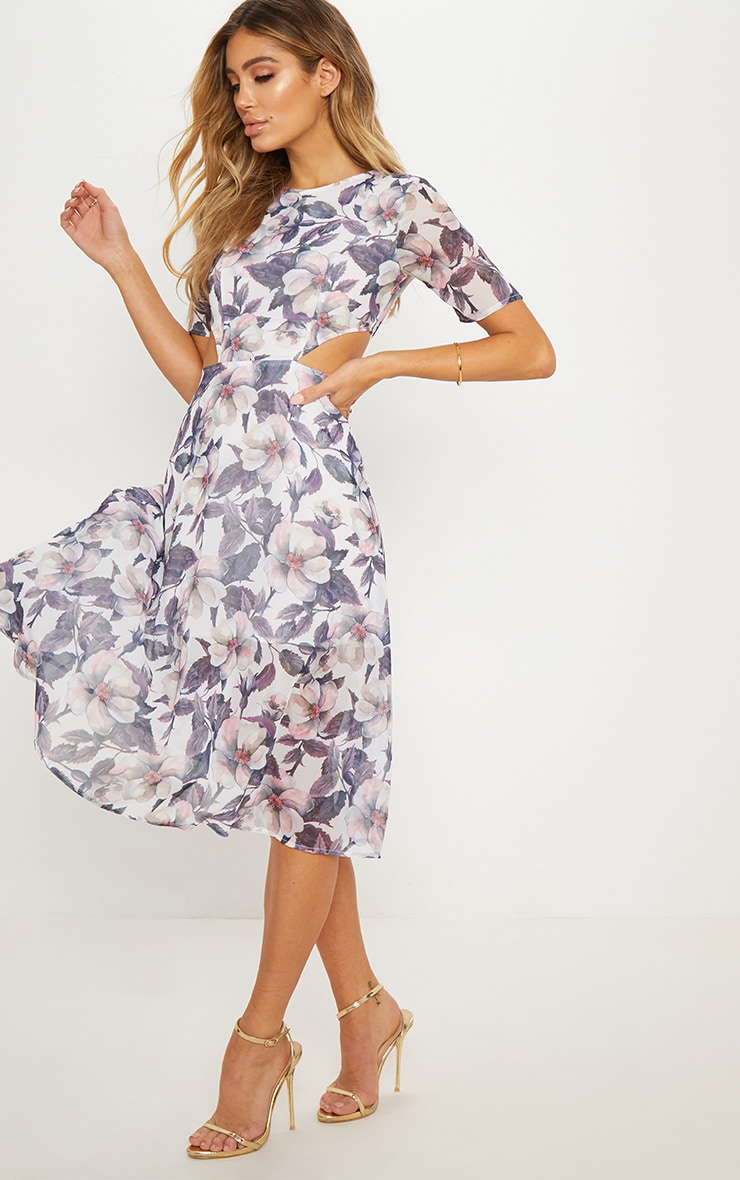 Grey Floral Cap Sleeve Cut Out Midi Dress