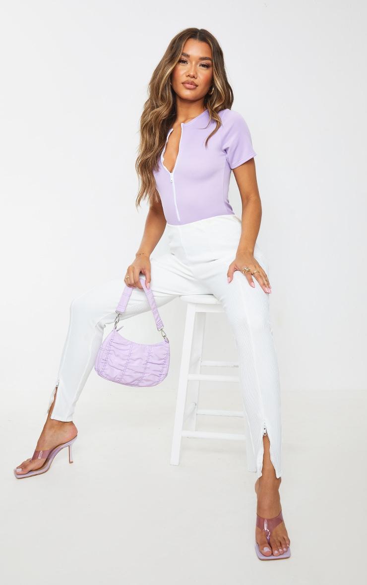 Lilac Bonded Scuba Zip Up Short Sleeve Bodysuit 1