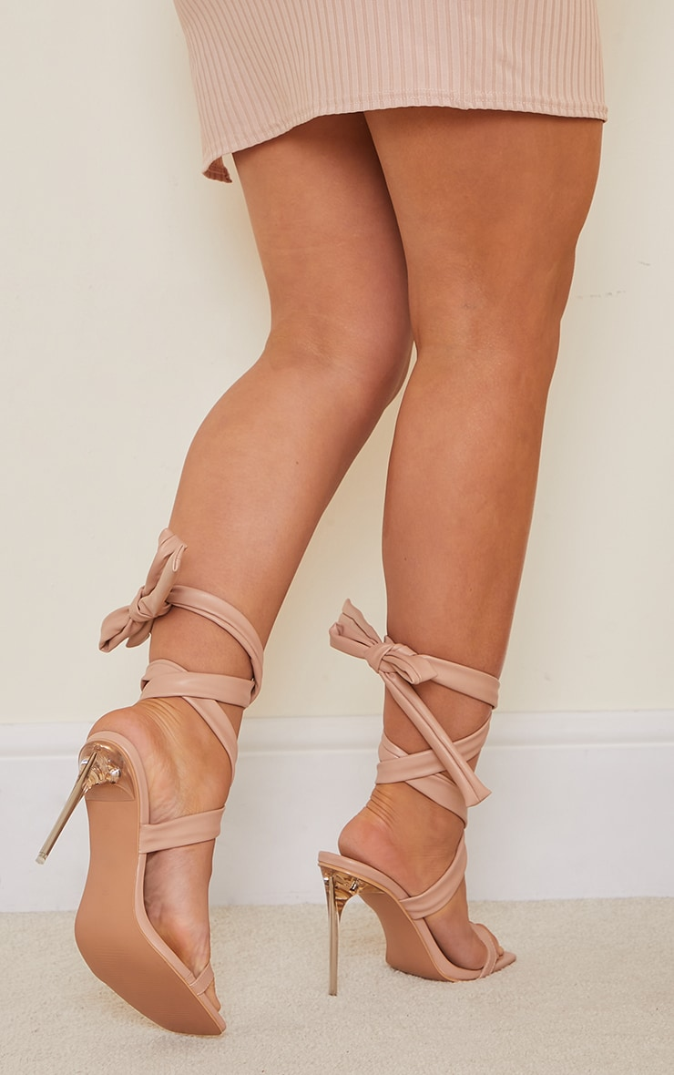 Nude PU Chunky Lace Up Clear High Heels 2