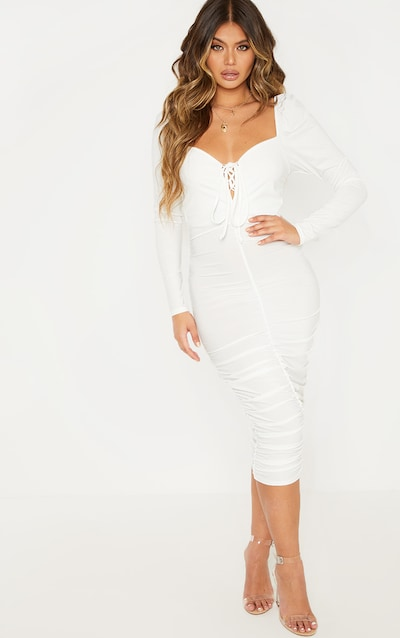 White Square Neck Lace Up Ruched Midi Dress
