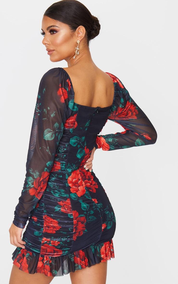 Robe moulante froncée en mesh floral noir à manches longues et détail bonnets 2
