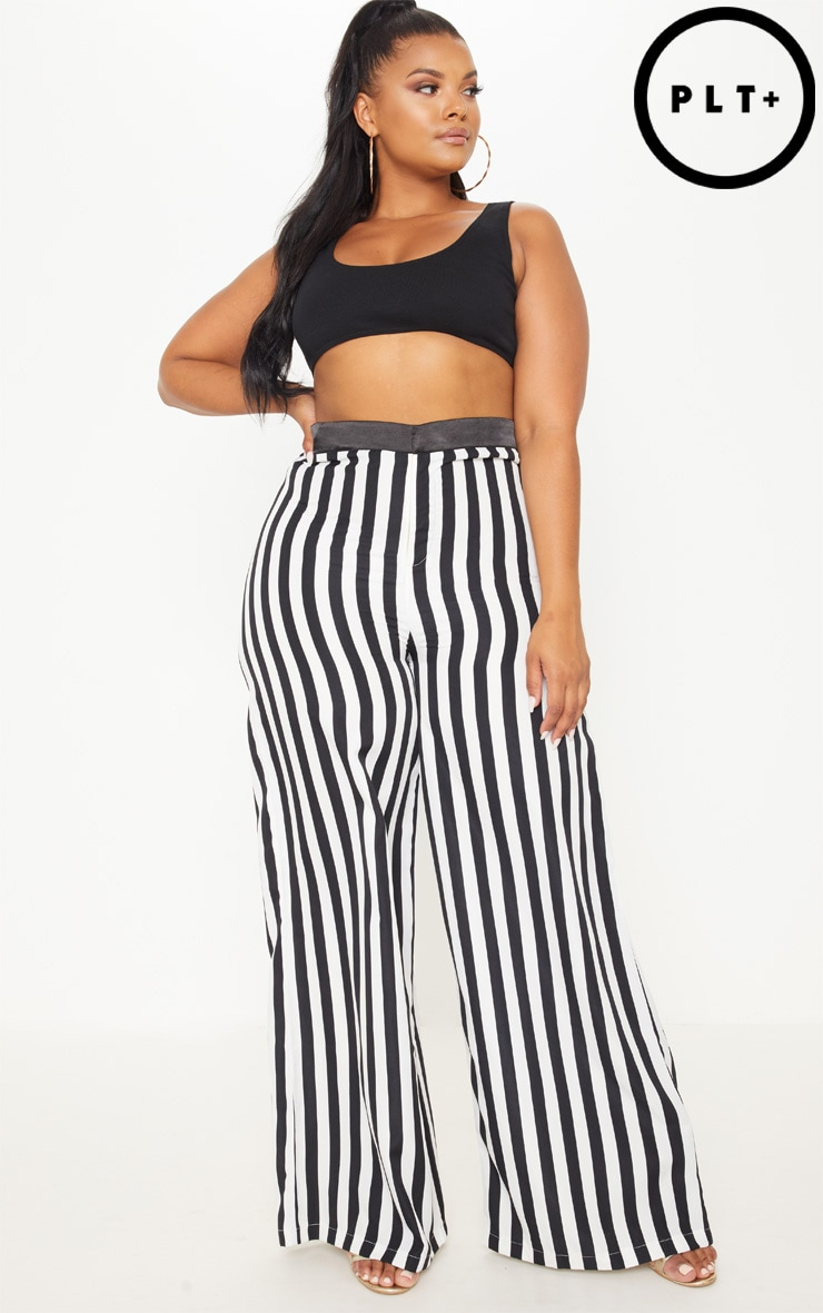 Plus Monochrome Stripe Wide Leg Trousers