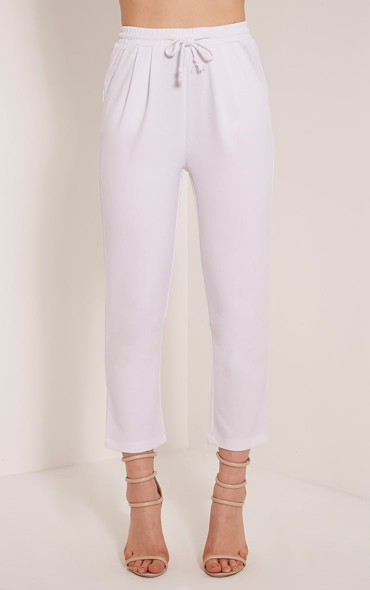 Diya White Cropped Trousers 2