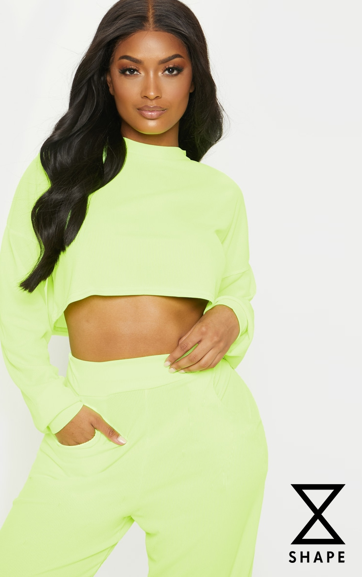 6ca170bacb590 Shape Neon Yellow Ribbed Long Sleeve Extreme Crop Top image 1