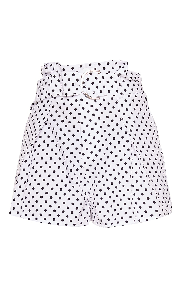 Petite White Polka Belted Suit Shorts 6