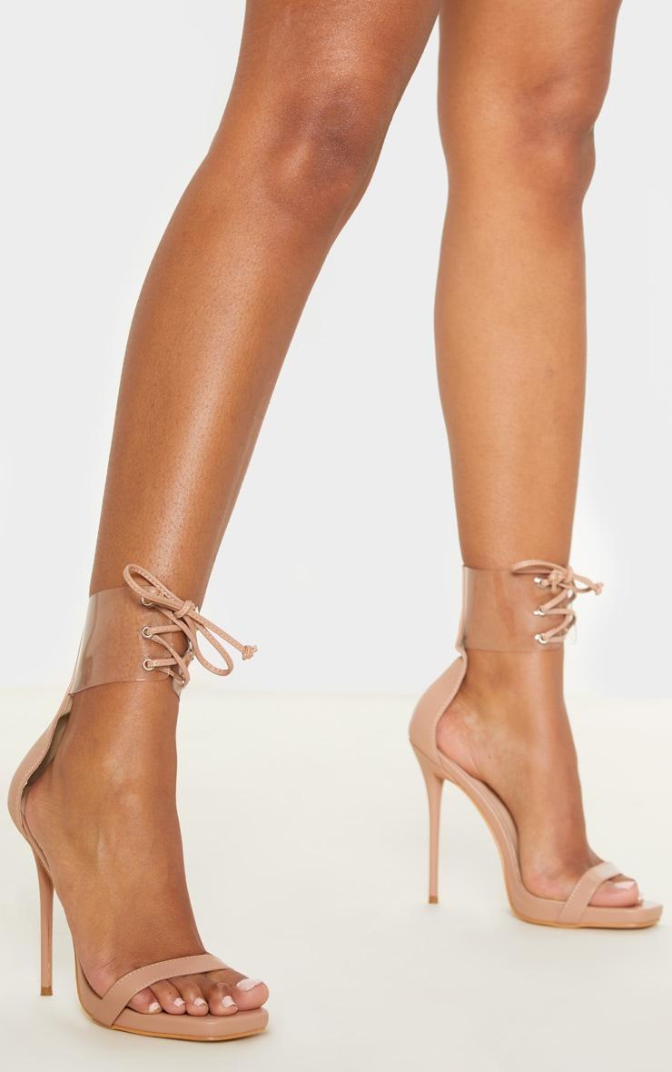 Nude Clear Cuff Square Toe High Sandal 2