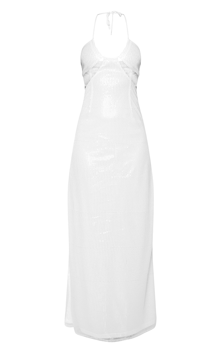 White Sequin Cut Out Detail Halterneck Maxi Dress  3