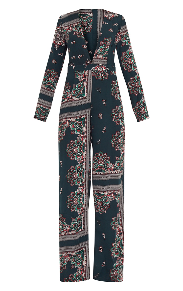 Forest Green Scarf Print Long Sleeve Plunge Jumpsuit 3