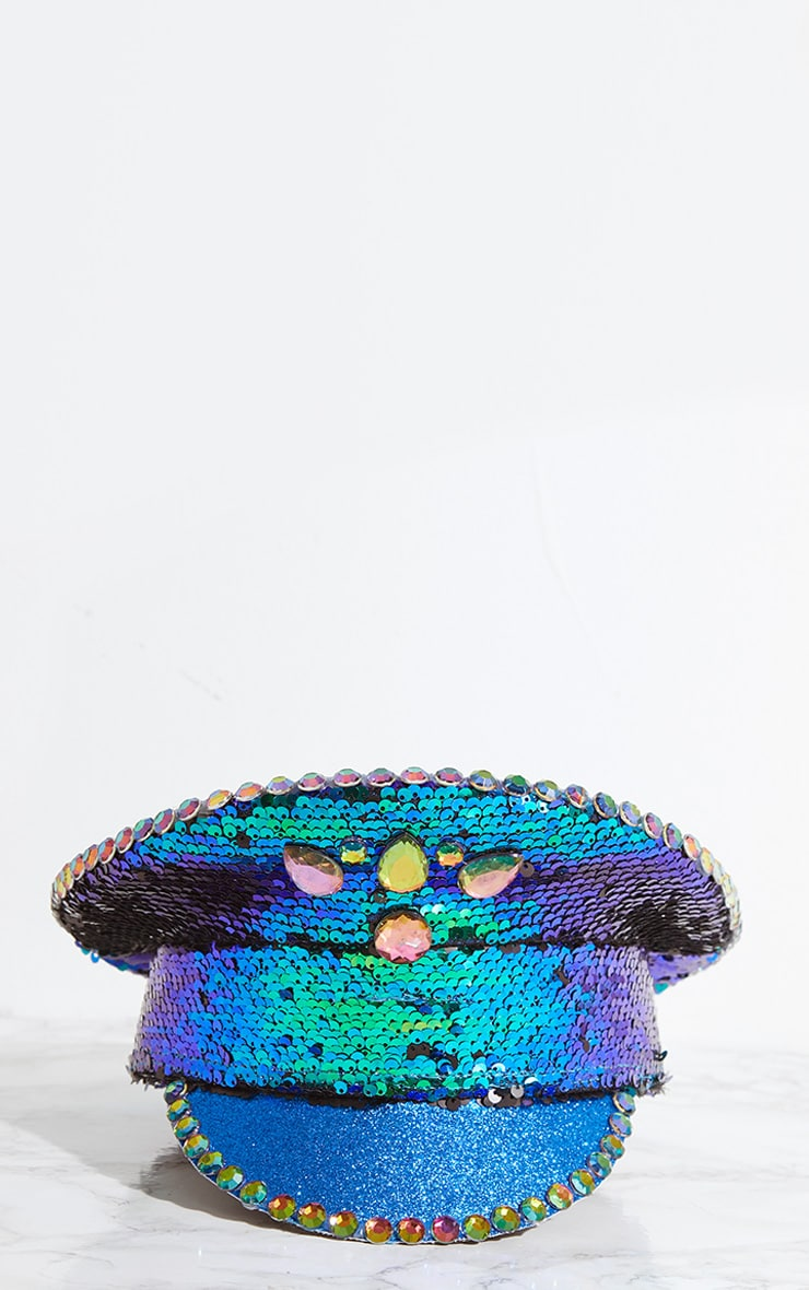 Blue Sequin Festival Captain Hat 3