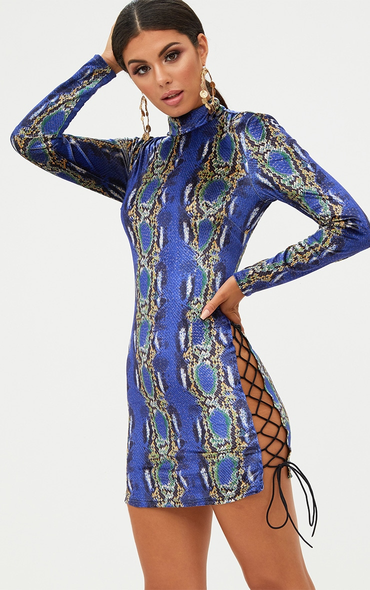 Cobalt Velvet Snake Print Side Lace Up Bodycon Dress 1