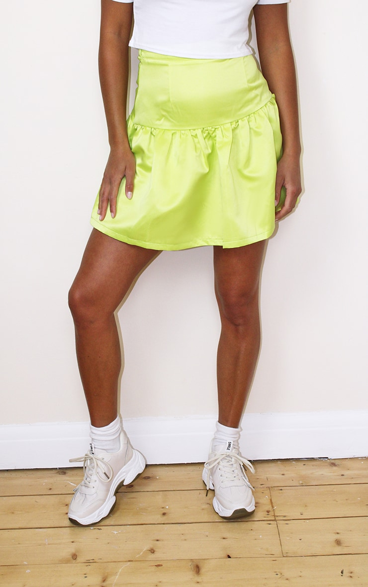Petite Lime Satin Flippy Hem Mini Skirt 2