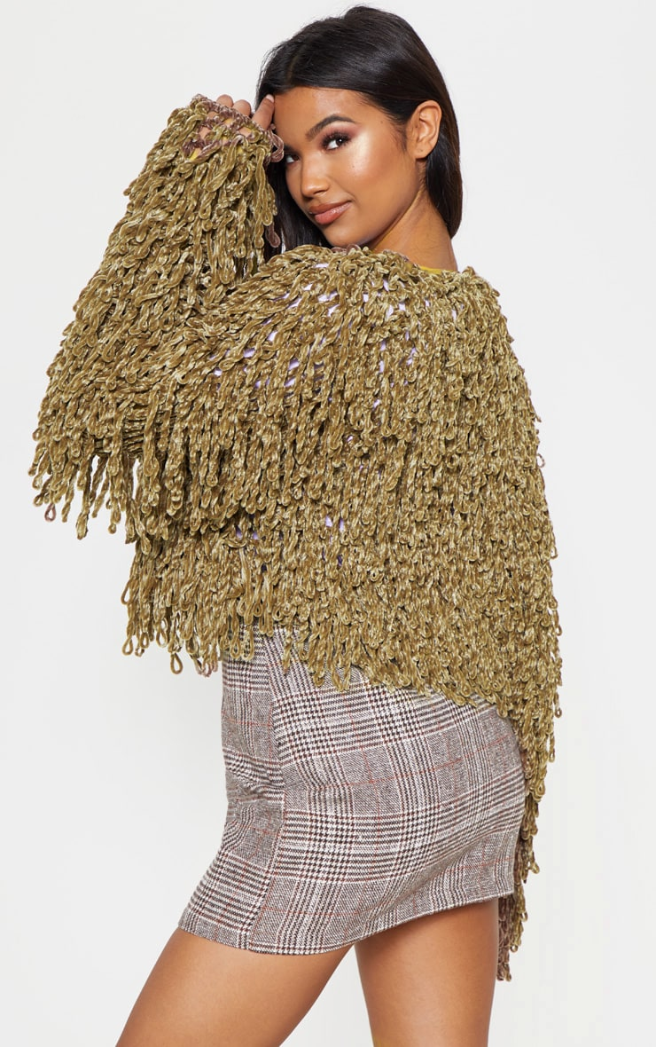 Taupe Chenille Shaggy Knitted Cardigan 2