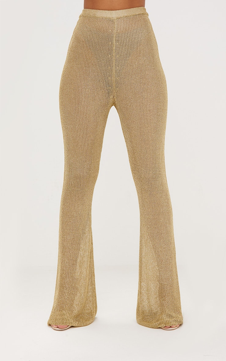 Gold Metallic Knit Flared Trousers 3