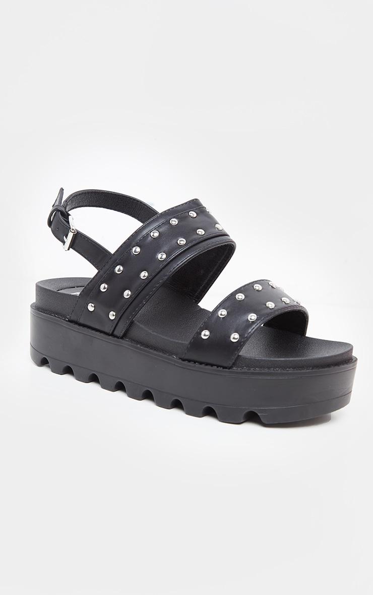 Black Studded Twin Strap Chunky Flatform Sandal 3