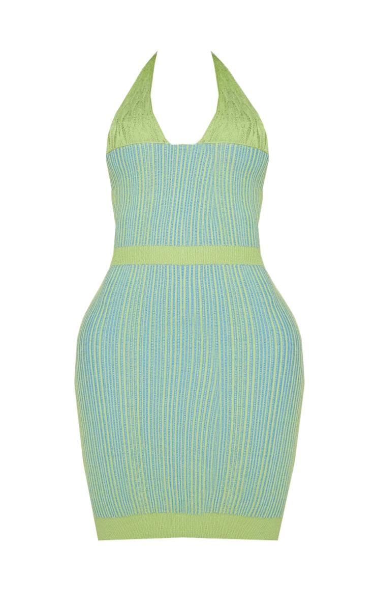 Shape Lime Knit Underbust Detail Halterneck Bodycon Dress 5