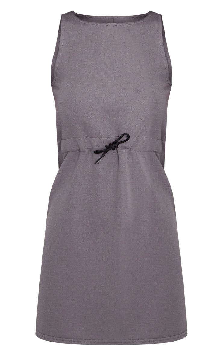 Charcoal Grey Drawstring Sleeveless Jumper Dress 3