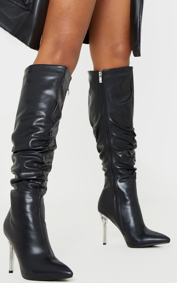 Black Knee High Clear Heel Square Toe Slouch Boot 1