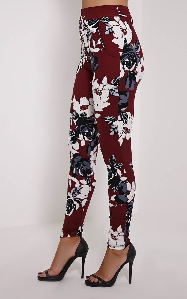 Yanet Burgundy Floral Print Crepe Trousers 3