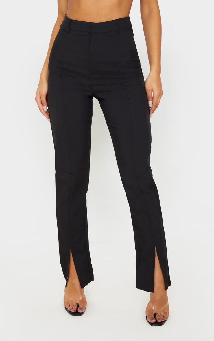 Black High Waisted Straight Leg Split Hem Pants 2