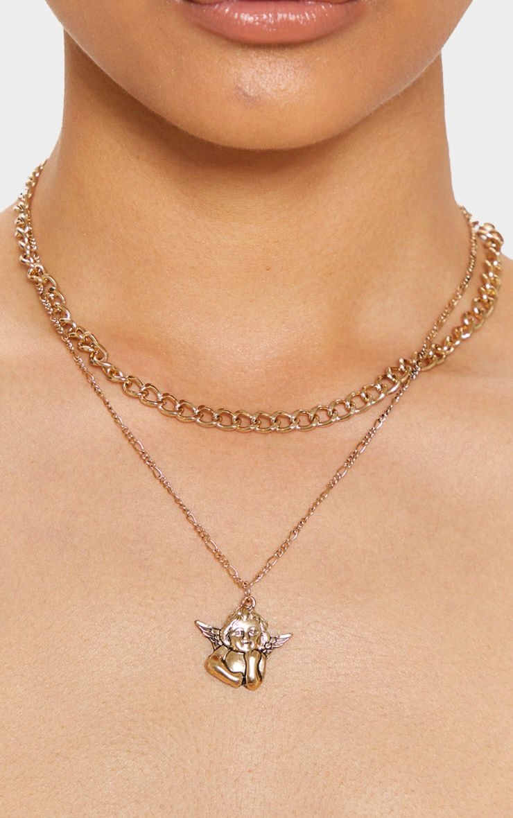 Gold Layering Chain Cherub Charm Necklace 2