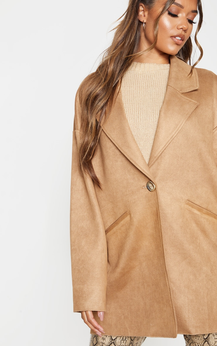 Camel Cocoon Faux Suede Coat 1