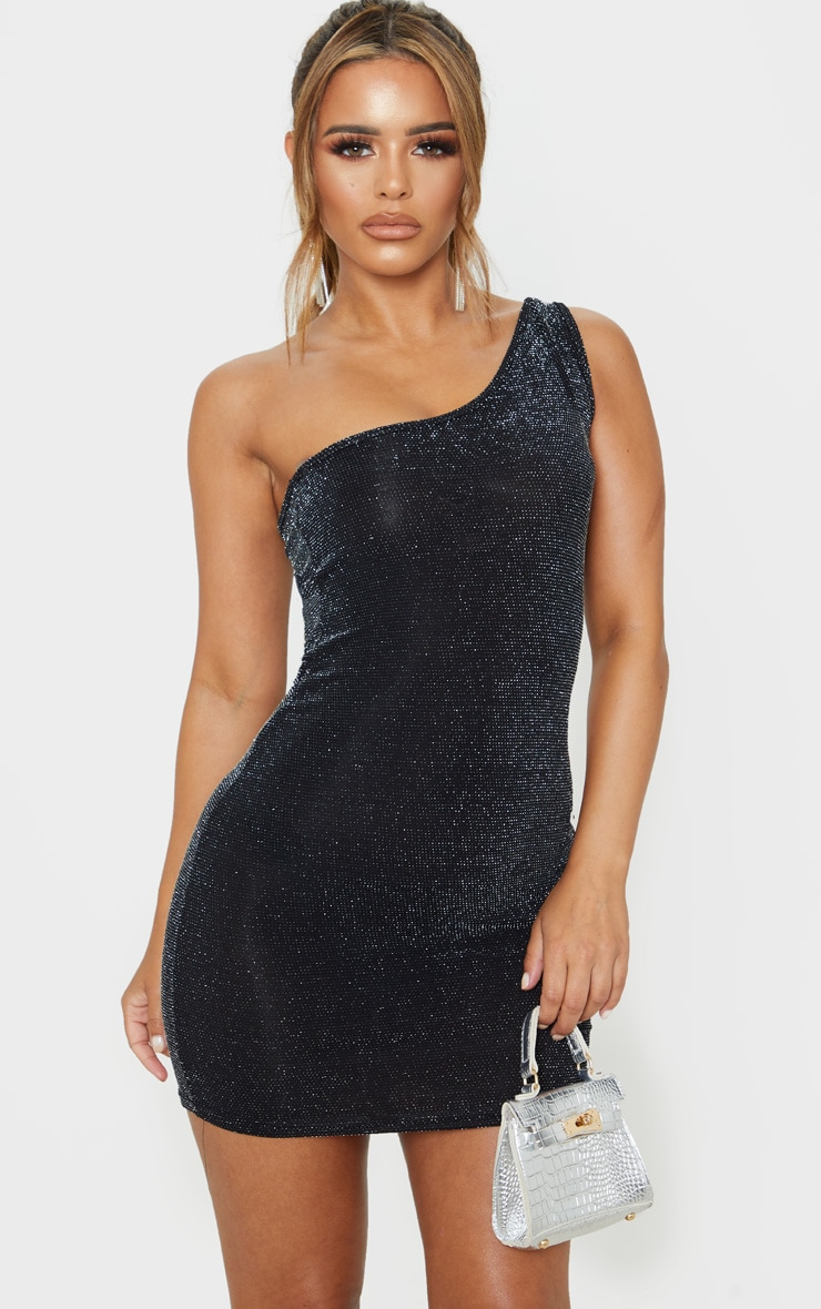 Petite Black One Shoulder Textured Glitter Bodycon Dress  1