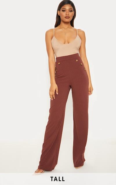 37a2173a69de1 Tall - Pantalon ample marron chocolat côtelé à boutons