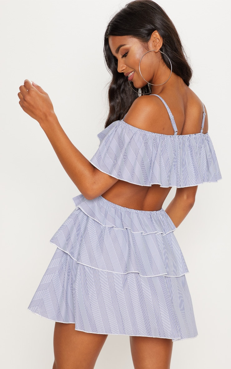 Black Stripe Bardot Tiered Cut Out Shift Dress 2